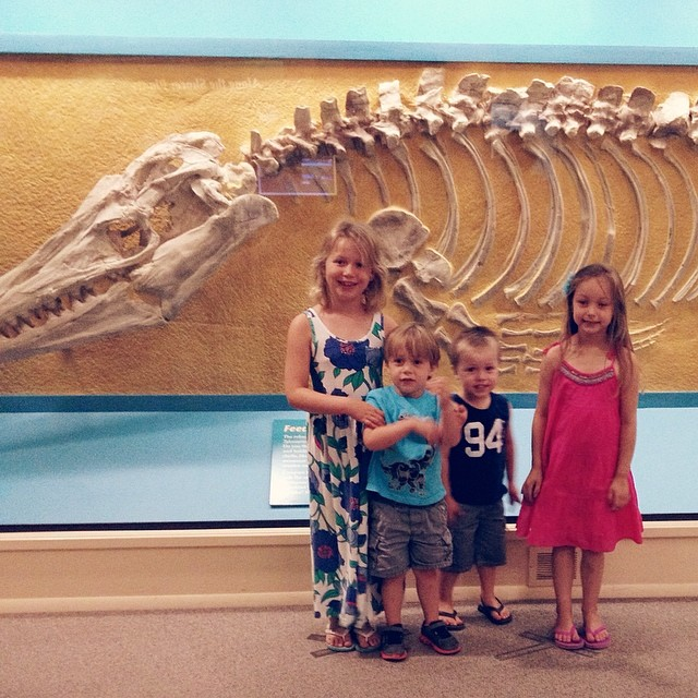 The Natural History Museum with @hjbieker and family! So fun, and only a tiny bit scary  #museum #hays #kansas #history #fossil #fun #friends