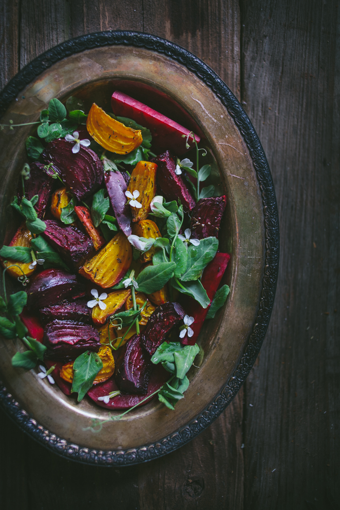 Roasted Beet Salad with Pea Shoots & Chèvre | Adventures in Cooking