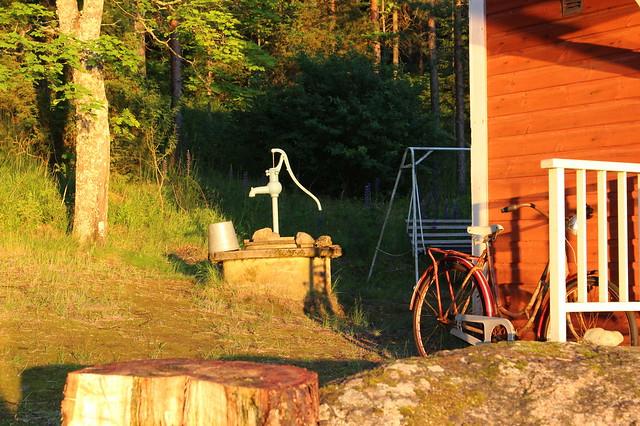 Well, bike, cabin.