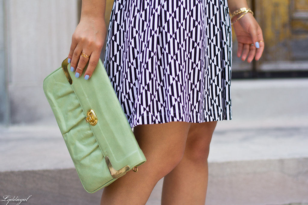 black and white print dress, mint clutch-5.jpg