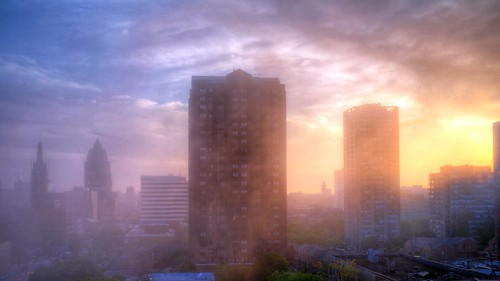 sunset summer usa home june fog skyline wisconsin clouds evening office downtown gallery apartment album condo milwaukee hdr roofview upontheroof mke 16x9 2014 easttown