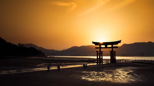 sunset japan japanese gate hiroshima miyajima 日本 雲 山 torii 海 鳥居 空 厳島神社 水 人 itsukushima 広島 宮島 黄色 日本人 日没 島 浜 d800e 2818g nikkor280mmf18