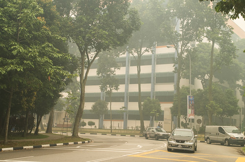 Visibility has dropped as haze envelops the whole of Singapore. No part of the country is spared.