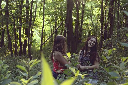 girls forest woods iowa adventure