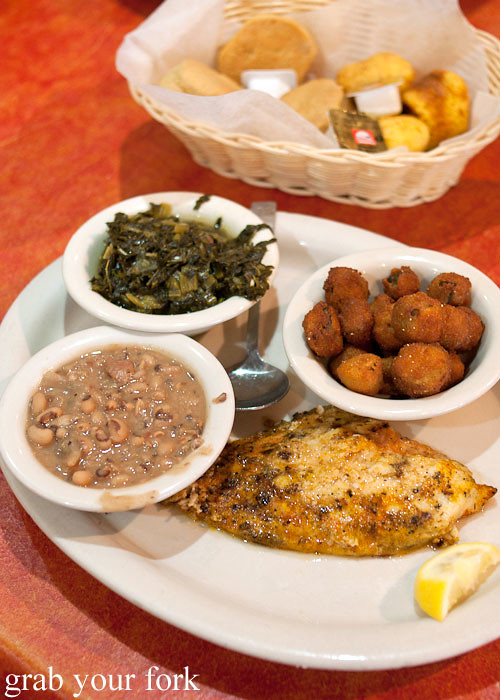 char-broiled catfish with black eyed peas mustard greens fried okra at hoover's cooking austin texas
