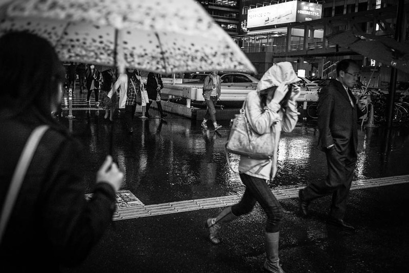 Running in the rain - Shinjuku.