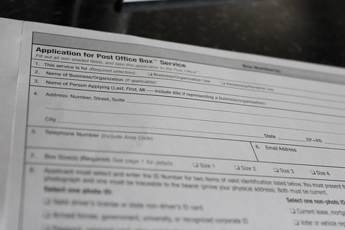 P.O. Box Form for Small Business