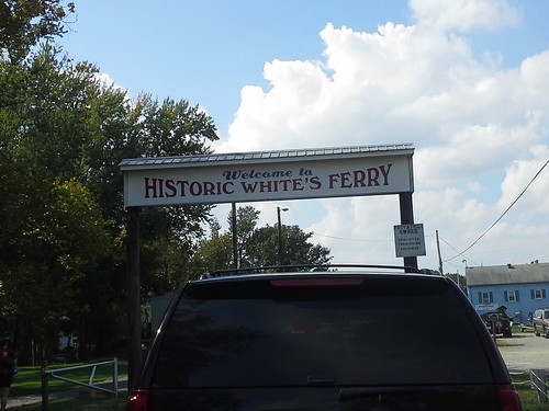 White's Ferry sign through the sunroof
