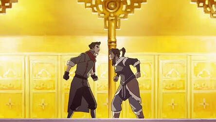 Korra and Mako from Avatar Legend of Korra Argue