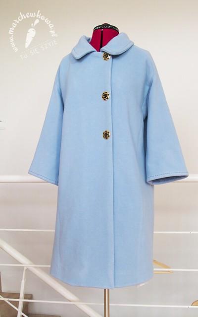 blog, szycie, krawiectwo, moda, retro, vintage, płaszcz, wykrój, pattern, Burda, 50s, 60s, wool, collarJackie Kennedy Style Coat