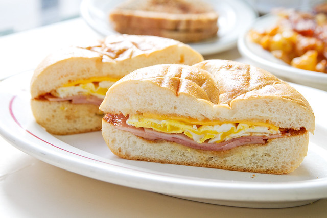 Egg, ham, and cheese