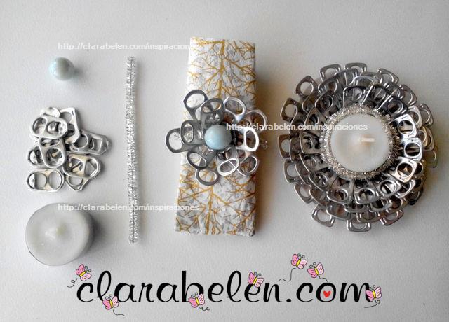 Inspiraciones manualidades y reciclaje diy original portavelas de navidad con anillas - Manualidades con chapas de refrescos ...