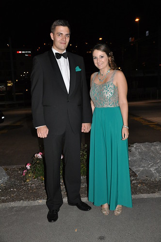 Turquoise and silver ball gown