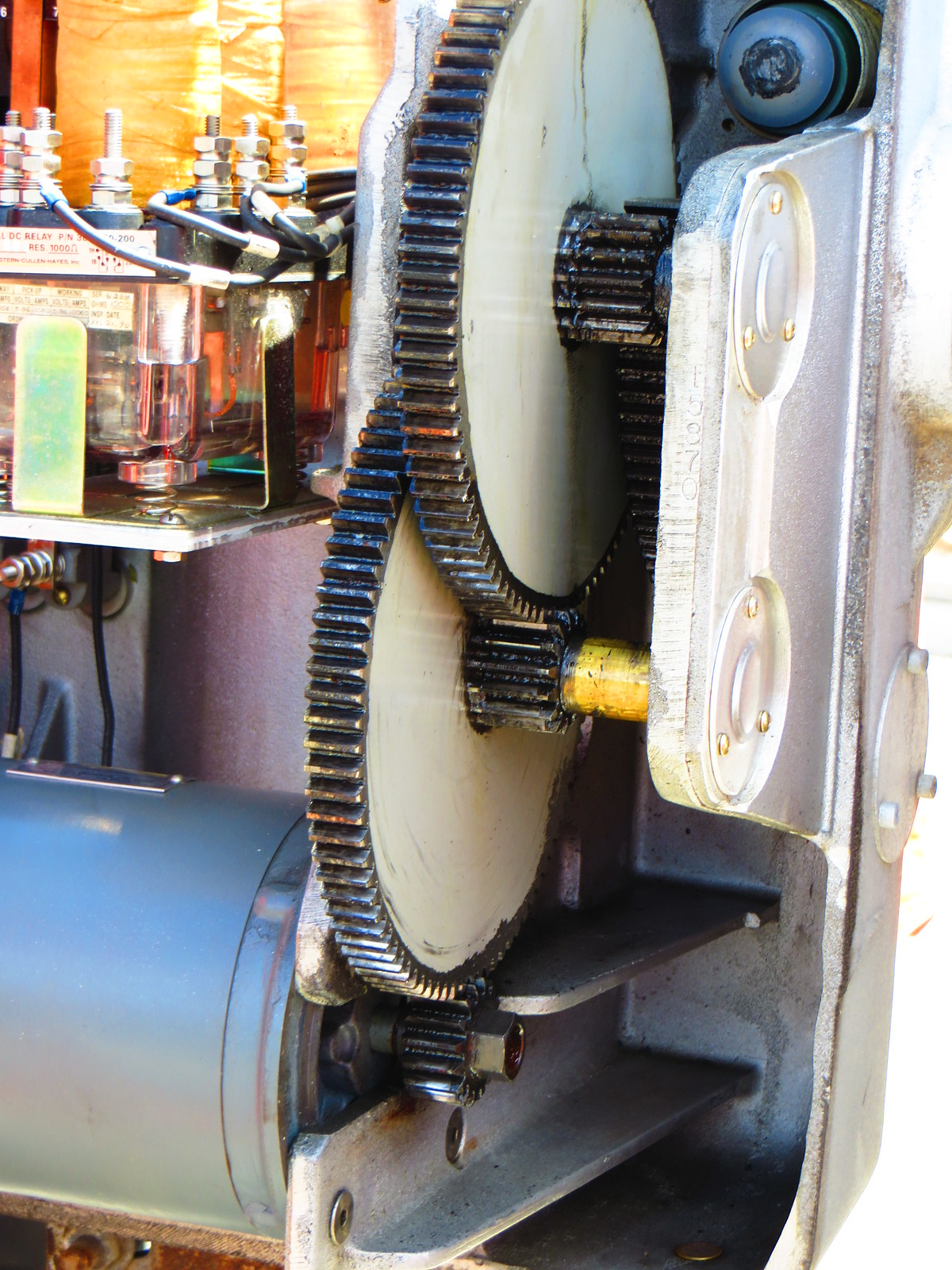 The insides of the railway crossing gate mechanism housing! by Ryan Smith