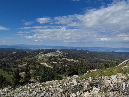 Looking west while climbing up the first set of scree on the Medicine Bow Peak Trail, Medicine Bow National Forest, WY