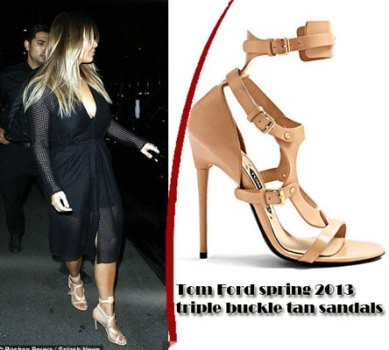 Kim Kardashian in Tom Ford spring 2013 triple buckle tan sandals