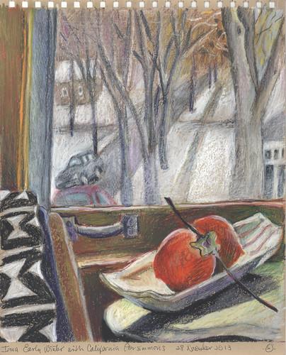 winter stilllife window fruit insideoutside urbanlandscape cedarfallsiowa neocoloriiwatersolublewaxpastels marciamilnerbrage cansonwickercoloredscrapbook
