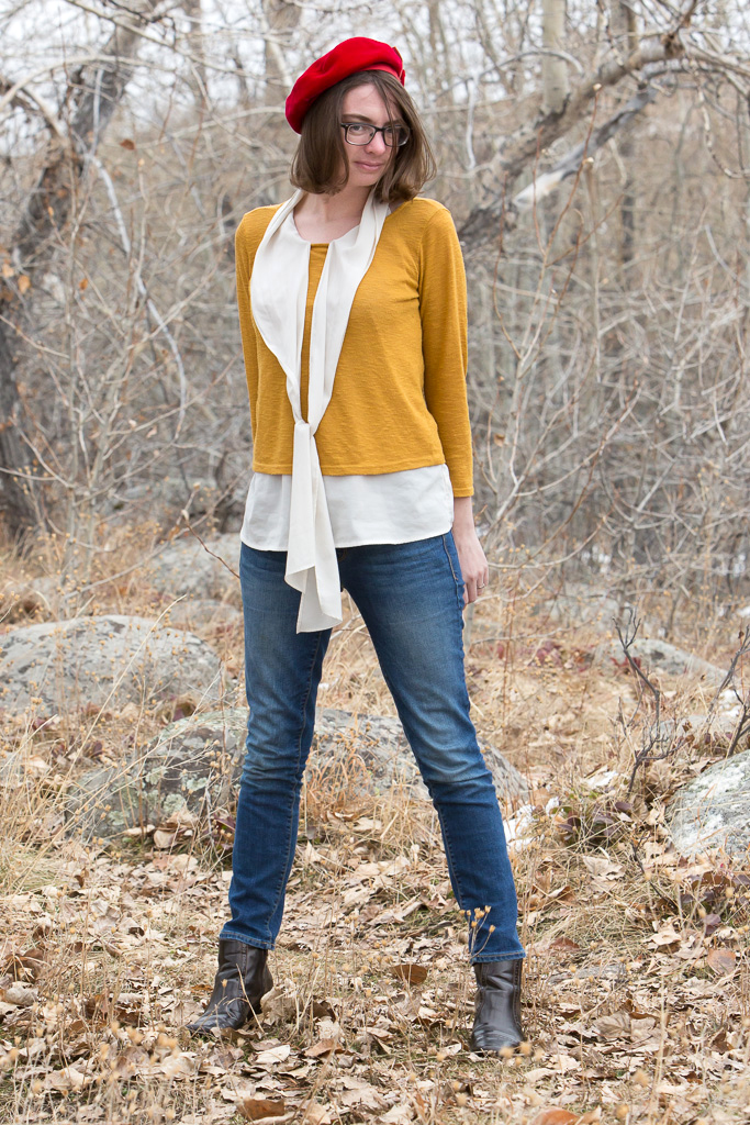 red-hat, mustard-sweater, skinny-jeans, pussy-bow, outfit, never-fully-dressed, without-a-style, wyoming, december,