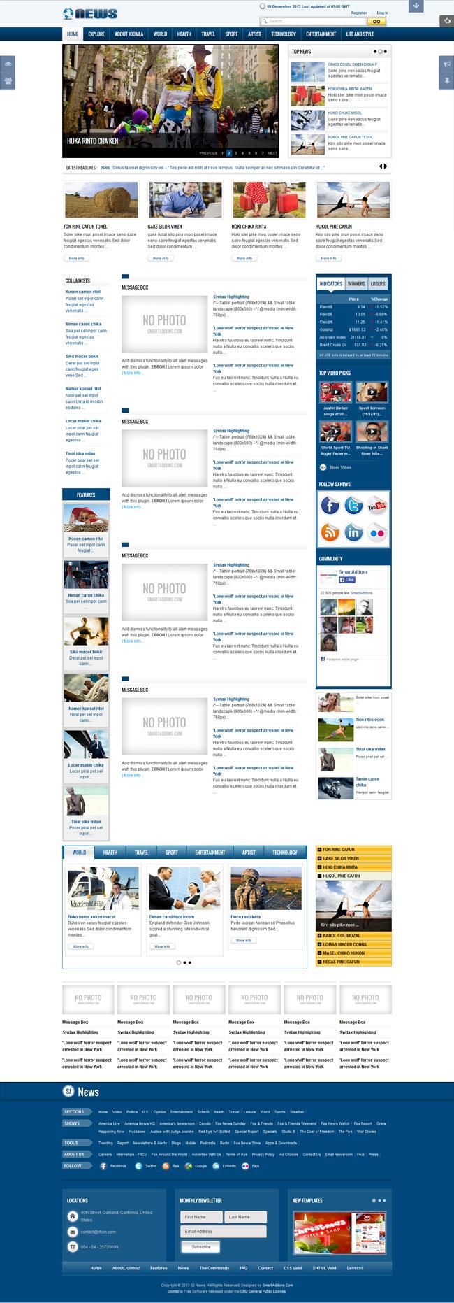 SJ News - Free Joomla! Magazine Template
