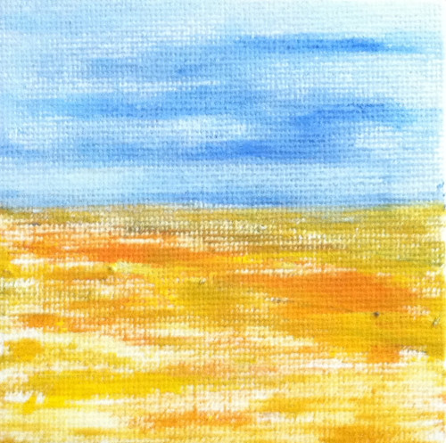 Blue Sky Golden Field (Mini-Painting as of December 6, 2013) by randubnick