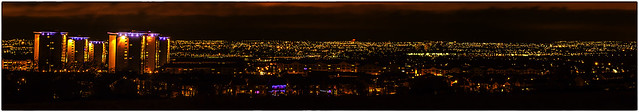 Glasgow city panoramic view at night