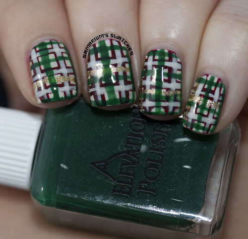 Christmas Plaid Nail art (6)