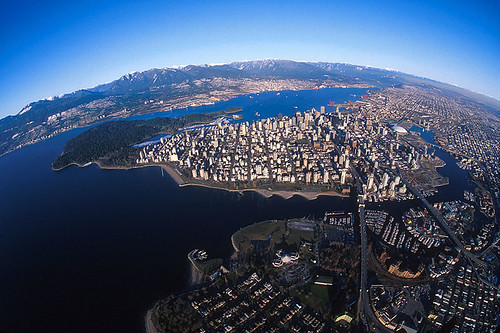 Vancouver, British Columbia, Canada, with Stanley Park visible centre left.