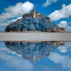 Wintry Blue Reflections of Mont Saint-Michel - HDR