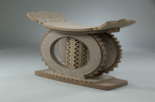 Chris Martin's Tribal Stool at the Octagon's 46th Clay Fiber Paper Glass Metal Wood exhibit