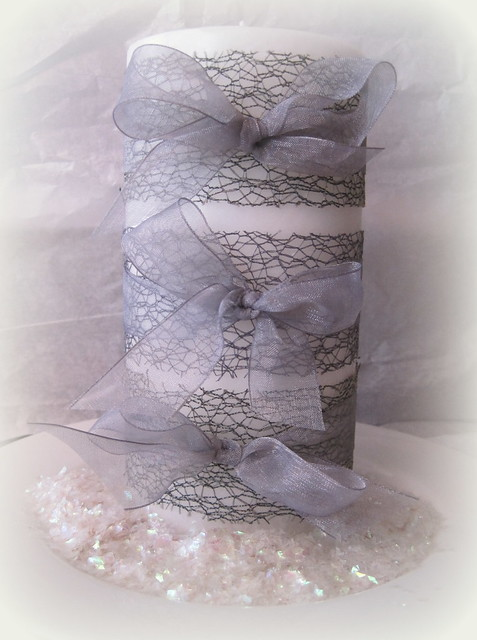 Ribbon Wrapped Candle - Designs By Dawn Rene