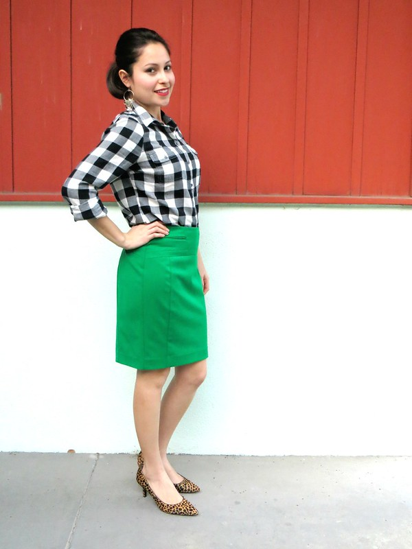 Gold Polka Dots - Green skirt and plaid shirt 1