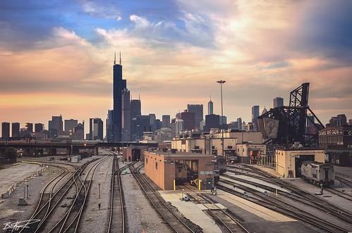 city bridge sunset summer chicago skyline architecture clouds train chinatown searstower amtrak vista hdr cookcounty 311swacker windycity willistower pentaxk5 briankoprowski bkoprowski