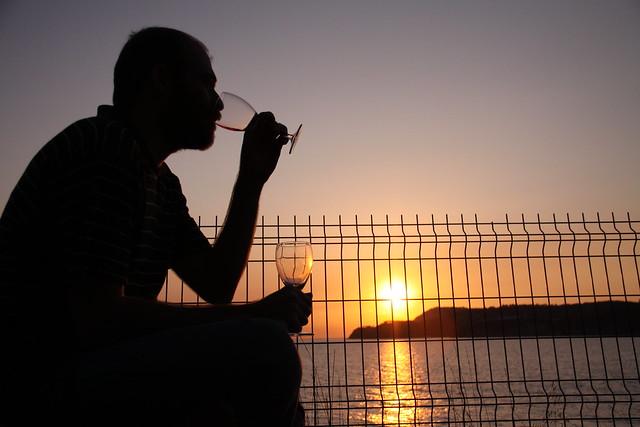 drinking wine in buyukada istanbul