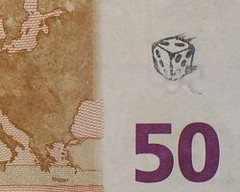Stamped euro banknote