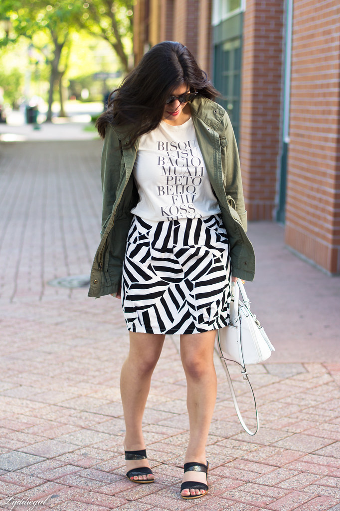 kiss tee, utility jacket, black and white skirt-1.jpg