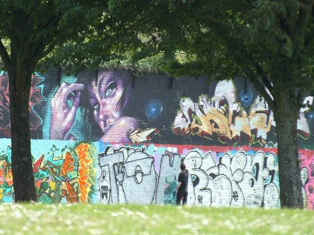 Street art and graffiti at Sevenoaks Park, Cardiff