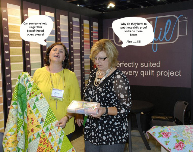 Pat sloan with quilt Jane ThreadBox