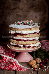 Christmas Layered Cake with Raspberry Jam and Whip…