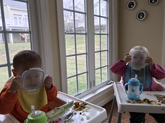 Entirely on their own, the twins decide to use food storage as scuba diving gear