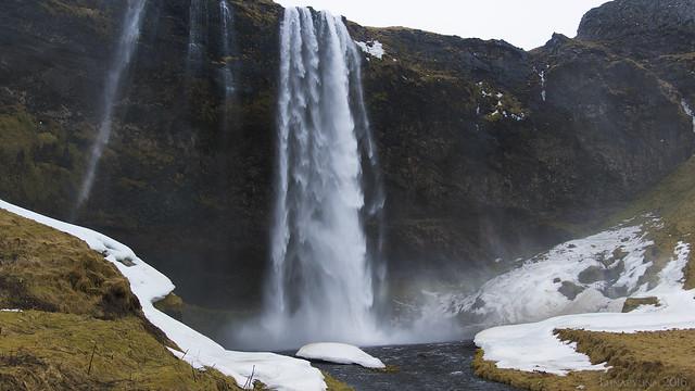 storm-whipped Seljalandsfoss
