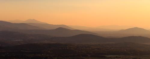 sunrise mountains orange mist fog sun virginia blue ridge smokey panorama pano horizontal layers serene