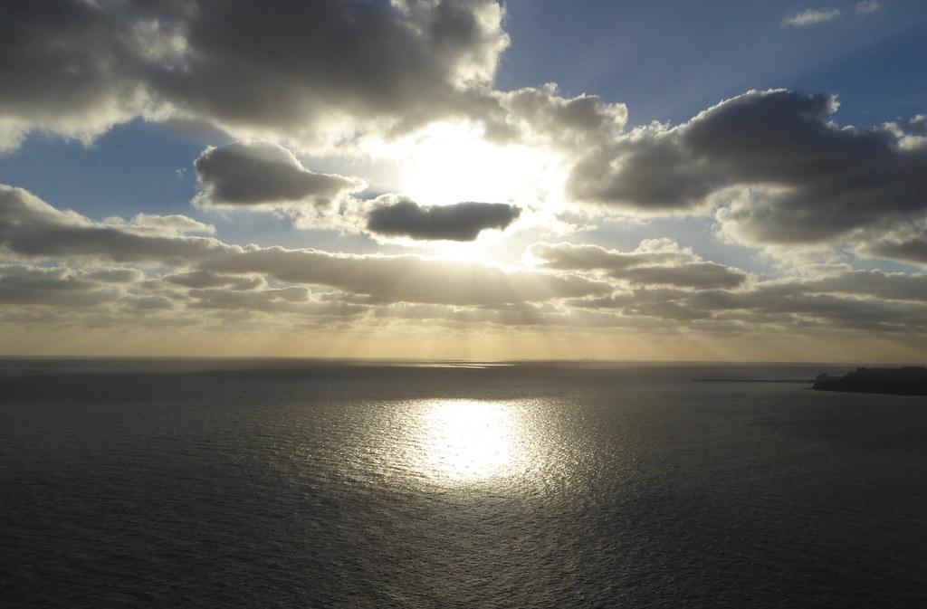 Sunlight on sea Folkestone to Dover walk