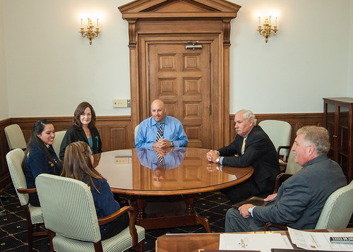 Meeting with the Acting Deputy Secretary at USDA: (Table, right to left) Kent Schescke, director of government and non-profit relations, National FFA Organization; Acting Deputy Secretary Scuse; John Lowery, Office of Tribal Relations; Leslie Wheelock, Director, Office of Tribal Relations; Hannah Nichols, Coushatta Tribe of Louisiana; and Jessica Wahnee (Muscogee (Creek) Nation, Okla.). USDA photo:  Bob Nichols