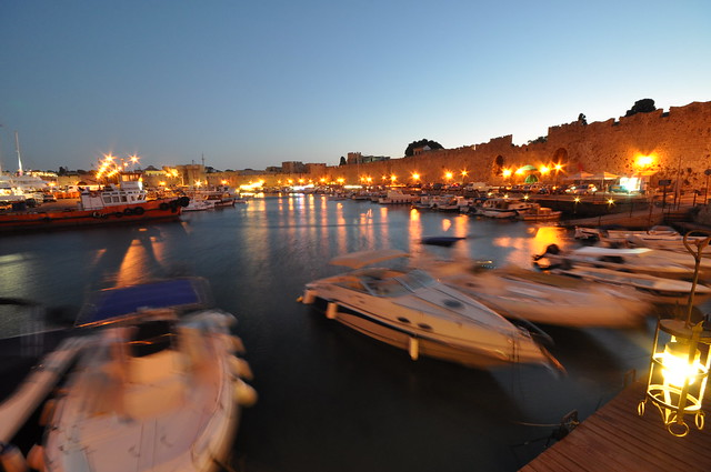 Commercial harbour at dusk
