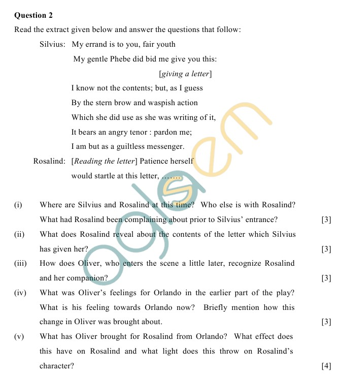 ICSE Class 10 Literature in English Sample Paper (English Paper – 2)