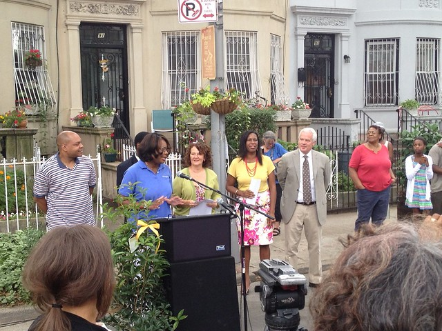 Renee McClure, Manager of Community & Customer Management at National Grid, addresses residents and press at the Greenest Block in Brooklyn winners' press conference. Photo by Kathryn Littlefield