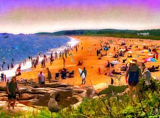 July Beach Scene