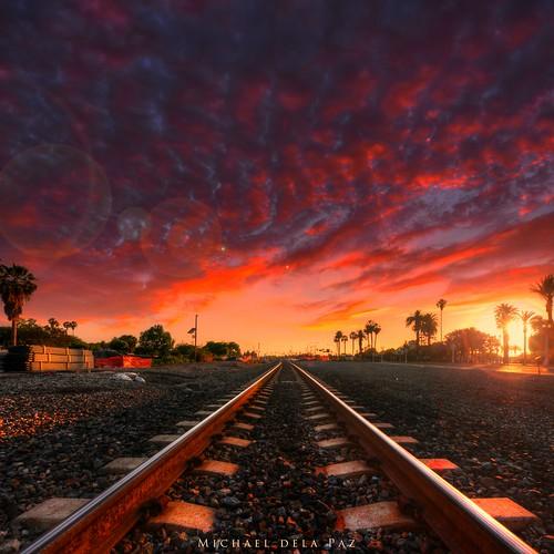 railroad sunset red sky fire amazing lensflare stunning railyard hdr railtracks blazing jawdropping sangabrielmissiondistrict