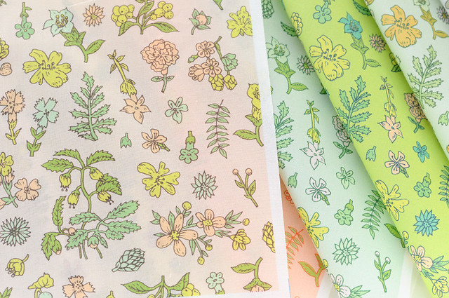 exploded flower garden fabric collection