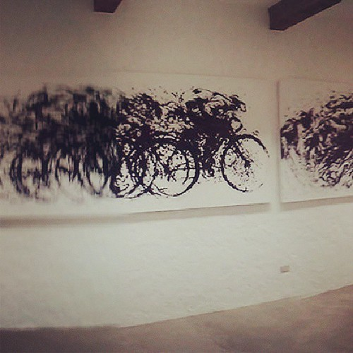 On the wall: one part of a triathlon painting